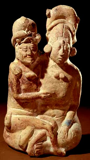 Maya Jaina Ceramic. One of many double figurines of the Old God and Young Lady in an amorous pose. Height 16.6 cm