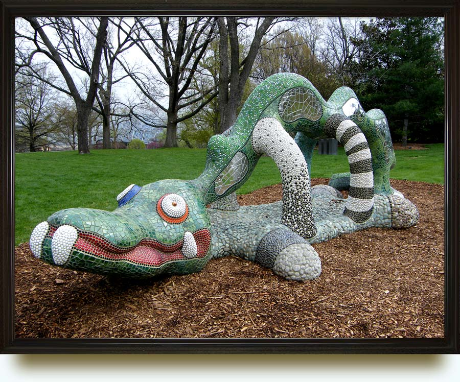 Niki de Saint Phalle, christened Catherine-Marie-Agnès Fal de Saint Phalle (1930–2002). Nikigator. 2001. Fiberglass, resin, mirror, glass pebbles, ceramic tile, tumbled stone. 84×300×96 in. Located  in Shaw (adjacent to the Missouri Botanical Garden, and named after its founder, Henry Shaw), St. Louis, MO, US.