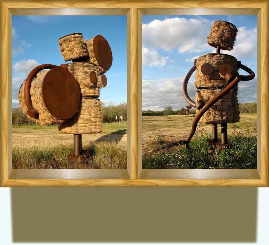 Tom Otterness (b. 1952 in Wichita, Kansas, US). Makin' Hay at the Missions. 18-foot-tall figures made out of hay bales and steel. http://www.flickr.com/photos/scottmonaco/4156333859/