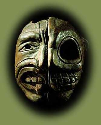 Given the stark contrast between the living half and the bare skull half of this mask, it has been suggested that it represents the characteristically Mesoamerican concept of duality, as represented by the opposing concepts of life and death, day and night, etc. Mask with one half representing a face and the other a skull. Central Mexican Pre-Classic. Early Pre-Classic (1000-600 B.C.) Tlatilco, State of Mexico. Clay. 8.5 x 7.3 cm. National Museum of Anthropology, Mexico. Photo © Jorge Pe'rez de Lara