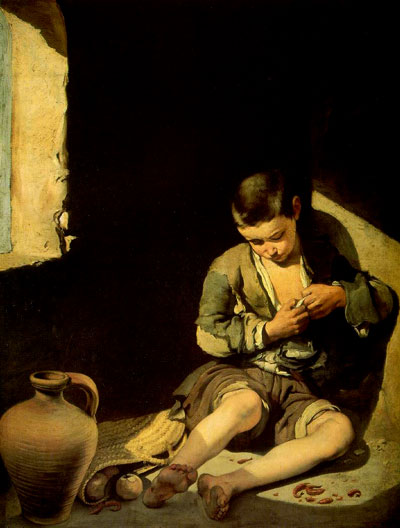 Murillo, Bartolome Esteban. The Young Beggar, 1650, canvas, Musée du Louvre, Paris