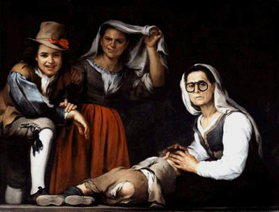 Murillo, Bartolome Esteban. Four Figures on a Step c. 1655–60. Oil on canvas. 109.9×143.5 cm. Kimbell Art Foundation, Fort Worth, Texas.