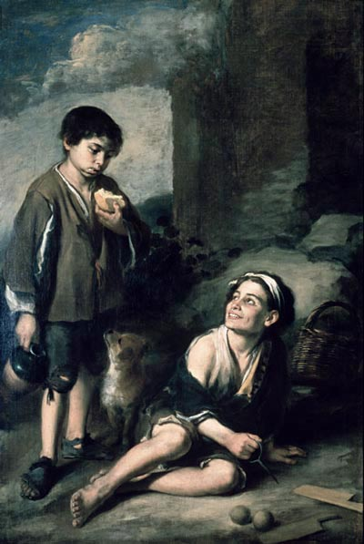 Murillo, Bartolome Esteban. Two peasant Boys. Oil, Canvas, 164.9×110.5 cm. Dulwich Picture Gallery, London, UK. Dated c.1670.