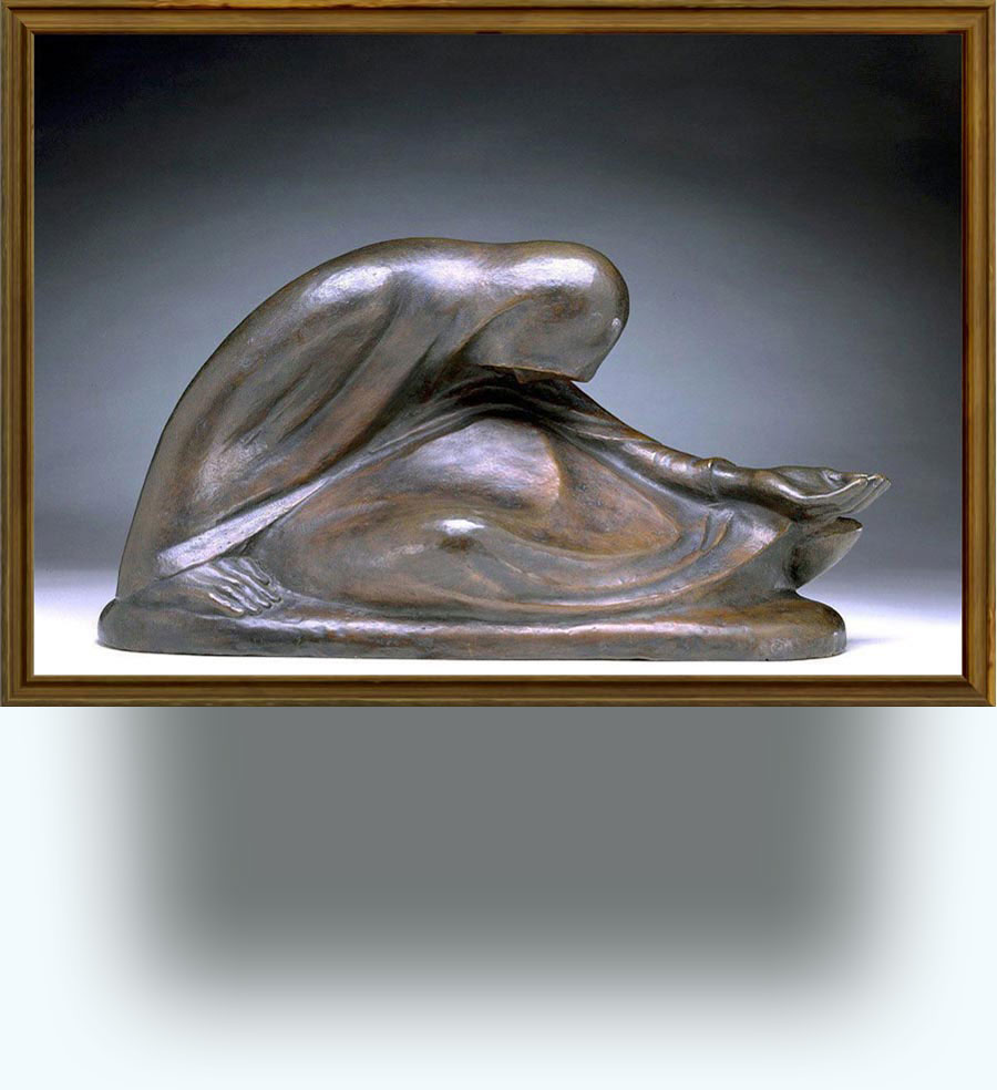 Ernst Barlach (b. 1870 in Wedel, nr Hamburg; d. 1938 Rostock). Russische Bettlerin II (Russian Beggarwoman II). Conceived in 1907 and cast in 1946–1957. Bronze. 22.5×42.8×18.1 cm. Hirshhorn Museum and Sculpture Garden, Washington, DC, USA. http://www.hirshhorn.org/visit/collection_object.asp?key=32&subkey=3747